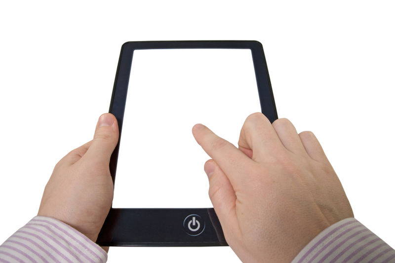 Via Clip Art: businessman holding touchpad computer with blank screen