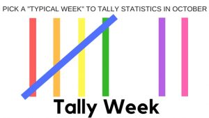 """Tally Week! Schedule a """"Typical Week"""" to tally statistics in October"""