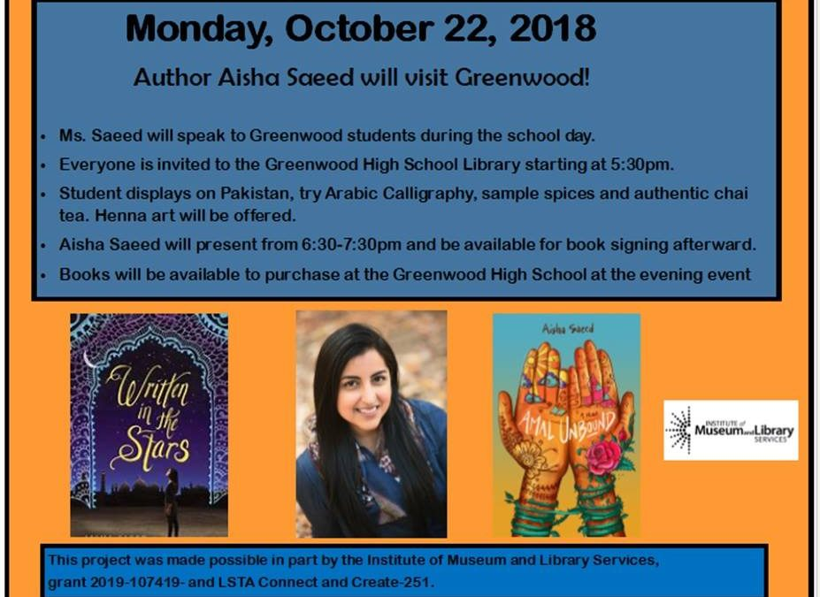 Award-Winning Youth Author Aisha Saeed To Visit Greenwood